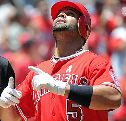 After getting off to a terrible start, Albert Pujols has now connected for nine home runs since May 15th.  (Getty Images)