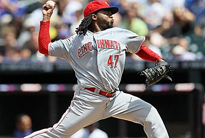 In addition to striking out a season-high eight, Johnny Cueto doubles for the first extra-base hit of his career.  (Getty Images)