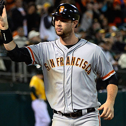 Brandon Belt comes through for the Giants with a game-tying two-run double in the ninth inning.  (Getty Images)