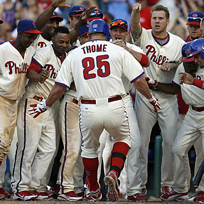 The Phillies' Jim Thome was 0 for 12 as a pinch-hitter before his game-winning home run to beat the Rays.   (AP)
