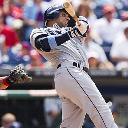 Carlos Pena's three-run homer in the eighth inning puts the Rays on top of the Phillies.  (US Presswire)