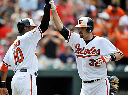 Matt Wieters celebrates with Adam Jones after hitting a two-run shot in the eighth inning against the Nationals. (US Presswire)