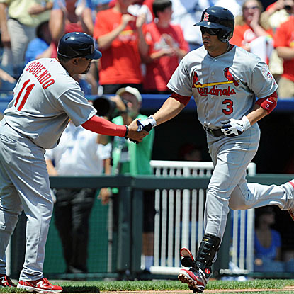 Carlos Beltran gives the Cardinals an early lead with a three-run homer in the first inning. (Getty Images)
