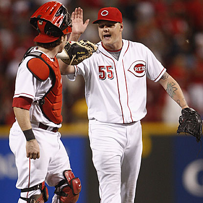 The Reds' Mat Latos allows four hits and strikes out 13 in his second career complete game.   (Getty Images)