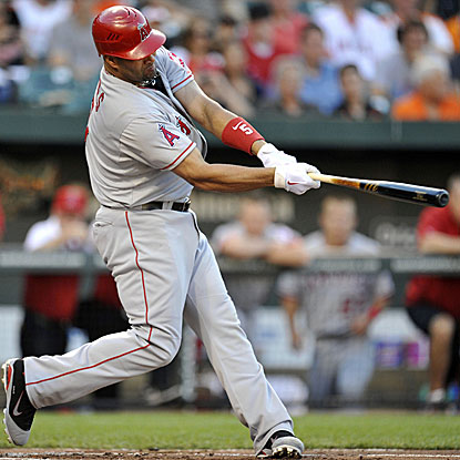 Albert Pujols hits his first-ever home run in Camden Yards, the 33rd MLB ballpark he's gone yard in.  (US Presswire)