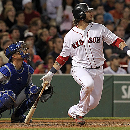 Jarrod Saltalamacchia's solo home run was the first of the Red Sox's three runs scored in the seventh inning. (Getty Images)