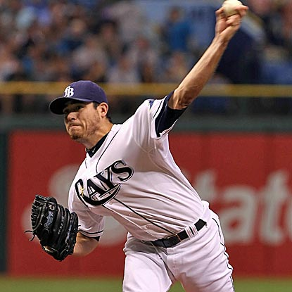 Rays starter Matt Moore scatters nine hits over seven innings to win his fourth straight decision.  (Getty Images)