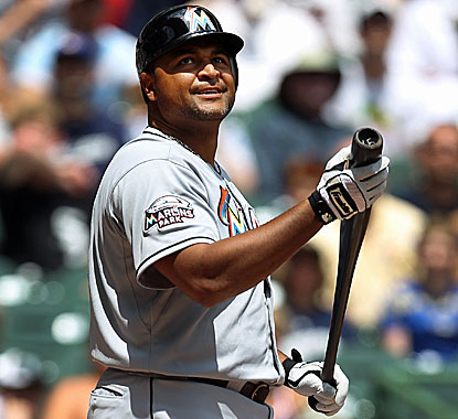 Carlos Lee looks pretty happy in a Miami uniform as he makes his presence felt after two at-bats. (Getty Images)