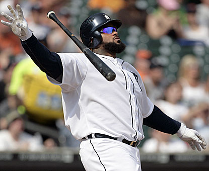 Prince Fielder knows his bomb is out of the park, but enjoys watching it anyway. (AP)