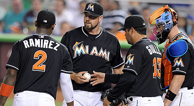 The Marlins' Heath Bell has blown five saves as closer, posting an ERA of 6.19. (US Presswire)