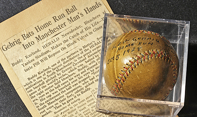 Gehrig's home run ball from the 1928 World Series could fetch up to $200,000. (AP)