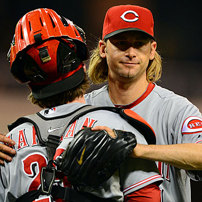 The Reds' Bronson Arroyo retires 14 of the final 15 batters to go the distance and earn the complete-game shutout.  (US Presswire)