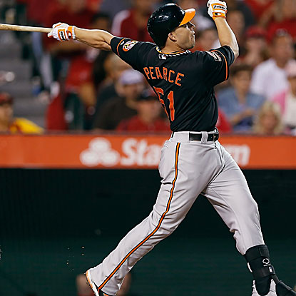 Steve Pearce's three-run home run provides all the offense the Orioles need in their win against the Angels.  (Getty Images)