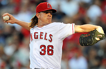 Jered Weaver has no problems scattering three hits over eight innings to confound the Orioles. (US Presswire)