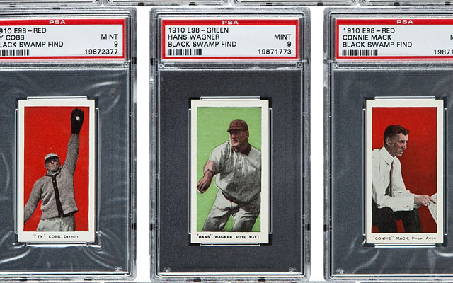 Among the Hall of Famers' cards found are Ty Cobb, Honus Wagner and Connie Mack. (AP)