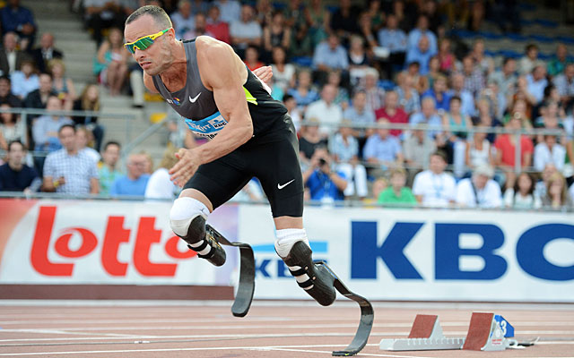 Oscar Pistorius competes on legs that weigh as little as 5 percent of his able-bodied opponents' legs. (AP)