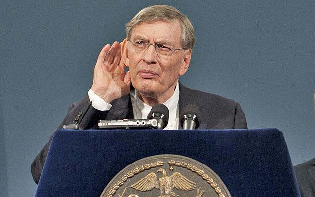 Bud Selig doesn't care if he hears you, but he puts on a good show about it. (Getty Images)