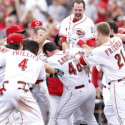 Ryan Ludwick's homer in the 10th inning wins it for the Reds and moves them back into first place in the NL Central.  (Getty Images)