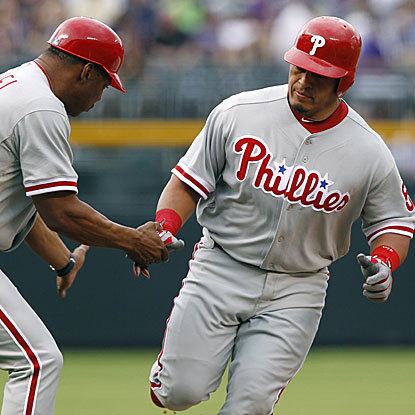 Carlos Ruiz's three-run homer highlights a four-run first inning for the Phillies.  (AP)