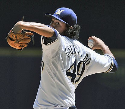 Yovani Gallardo dominates the Pirates as he strikes out a career-best 14 through seven innings.  (AP)
