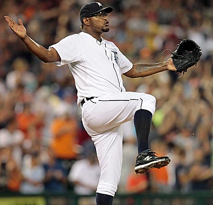 Tigers closer Jose Valverde celebrates his17th save, holding off the Angels in a wild one at Comerica Park.  (Getty Images)
