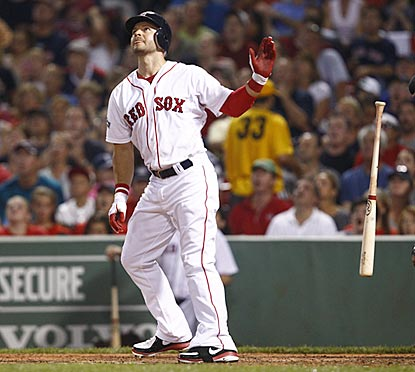 Cody Ross admires his third extra-base hit of the game -- a ringing double hit to left field.  (US Presswire)
