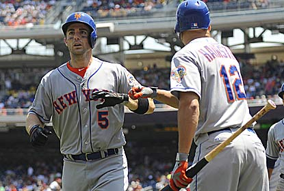 David Wright finishes the day with five RBI, including two HRs, to help R.A. Dickey become the NL's first 13-game winner. (US Presswire)