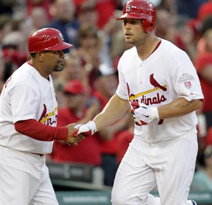 Matt Holliday smashes a 469-foot home run, the longest blast in the seven-year history of Busch Stadium.  (AP)