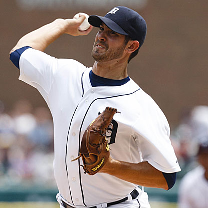 The Tigers' Rick Porcello pitches into the ninth inning, holding the White Sox to one run on five hits to earn the victory.  (US Presswire)