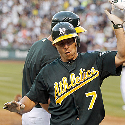 Brandon Inge's solo HR in the eighth inning breaks a 1-1 tie and sends the A's past the Yankees for the third straight game.  (US Presswire)