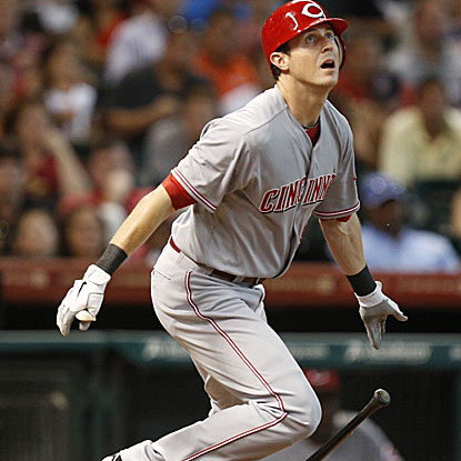 Drew Stubbs connects on a two-run double in the ninth inning to put the Reds over the Astros.  (US Presswire)
