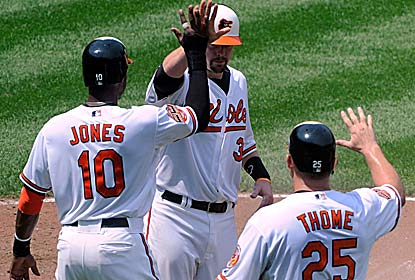 Chris Davis hits a home run and drives in four for the O's, who had scored only one run in each of their previous three games. (AP)