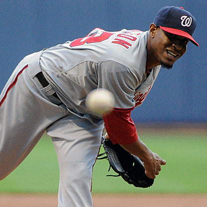 Edwin Jackson throws seven scoreless innings to earn the win and extend the Nationals' win streak to six.  (US Presswire)