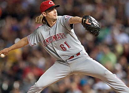 Reds starter Bronson Arroyo retires the first 11 batters he faces, finishing with three strikeouts and no walks.  (Getty Images)