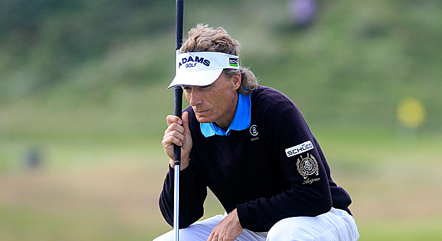 With a one-stroke lead, Bernhard Langer will seek his second Senior British Open title Sunday. (Getty Images)
