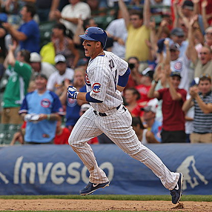 Cubs rookie first basemen Anthony Rizzo delivers a two-run homer in the 10th inning that beats the Cardinals at Wrigley Field.  (Getty Images)
