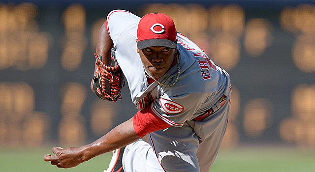 The Reds' Aroldis Chapman has a 0.20 ERA and a .102 opponents' batting average vs. NL teams. (US Presswire)