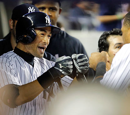Ichiro Suzuki goes yard, marking his first home run with the Yankees and the 100th of his career.  (Getty Images)
