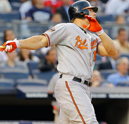 Chris Davis gives the Orioles the lead with his grand slam in a seven-run second inning.  (Getty Images)