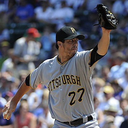 The Pirates' Jeff Karstens throws five strong innings in his win against the Cubs, allowing three hits and one run. (Getty Images)