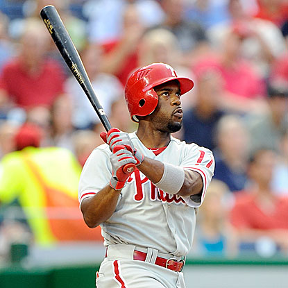 After hitting the first pitch of the game to the warning track for an out, Jimmy Rollins homers twice in the Phillies' win. (Getty Images)