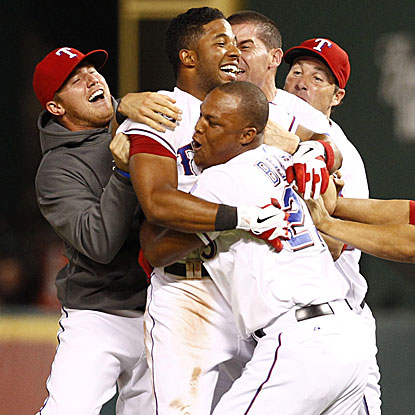 Elvis Andrus caps the Rangers' comeback with a game-ending two-run single in the 10th inning to beat the Angels. (US Presswire)