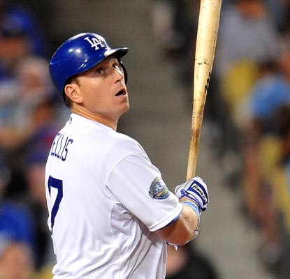 A.J. Ellis goes deep twice to help batterymate Chad Billingsley earn the win for the Dodgers.  (US Presswire)
