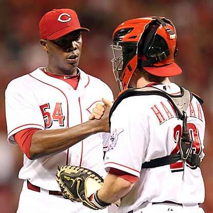 Aroldis Chapman shuts the door in the ninth inning to preserve the Reds' win and earn his 25th save.  (Getty Images)
