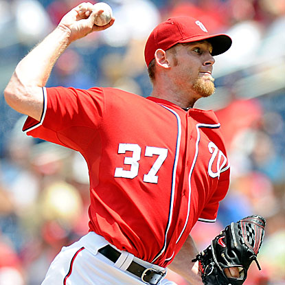 The Nationals' Stephen Strasburg yields three hits over six innings and also collects two RBI to defeat the Marlins. (Getty Images)