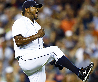 It was an eventful ninth inning, but Jose Valverde celebrates his 22nd save of the season. (US Presswire)