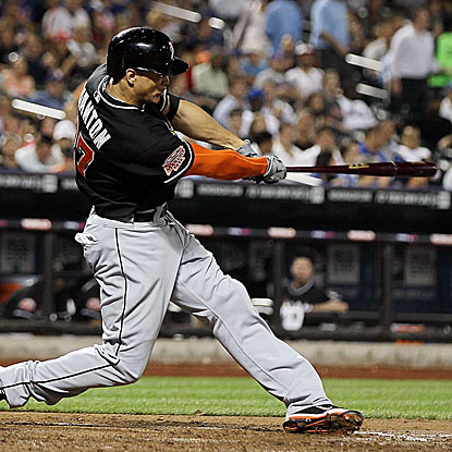 Giancarlo Stanton goes 4 for 5 with a pair of two-run homers in the Marlins' lopsided win over the Mets.  (Getty Images)