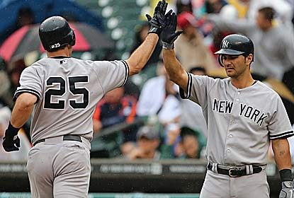 Mark Teixeira  and  Eric Chavez hit solo home runs on consecutive pitches in the eighth inning to put the Yanks ahead for good. (Getty Images)