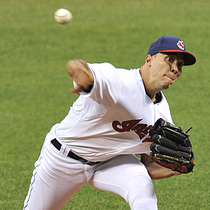 Ubaldo Jimenez allows three runs in six innings while striking out a season-high 10 batters in the Indians' victory. (Getty Images)