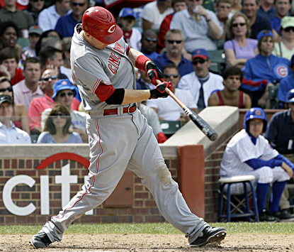 Cincinnati's Todd Frazier hits a two-run single against the Cubs during the sixth inning in Chicago. (AP)